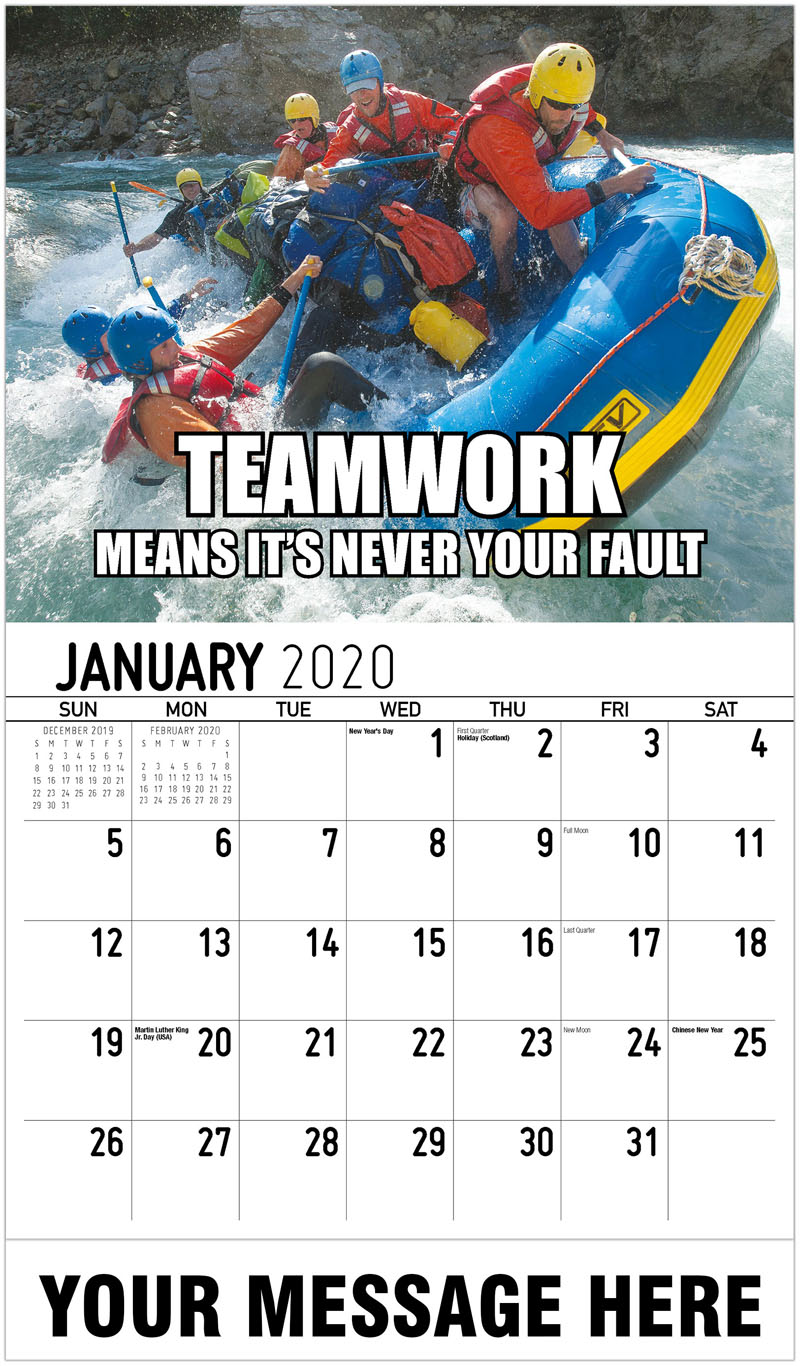 2020 Promo Calendar - Teamwork means it's never your fault - January