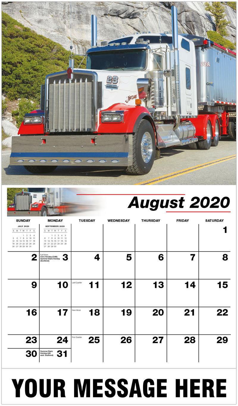 2020 Business Advertising Calendar - 2007 Kenworth W900 - August