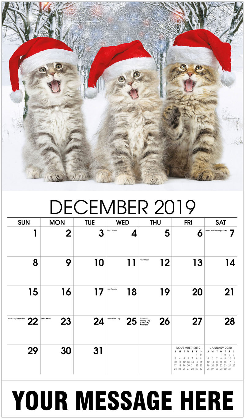 2020 Promotional Calendar - 3 Kittens With Santa Hats - December_2019