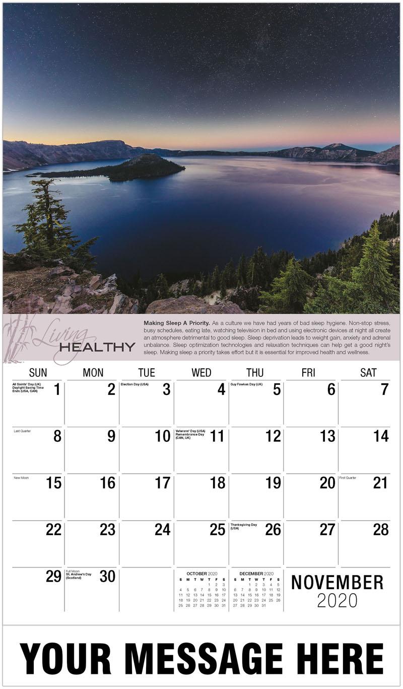 2020 Advertising Calendar - Night Time Stars Over Crater Lake - November