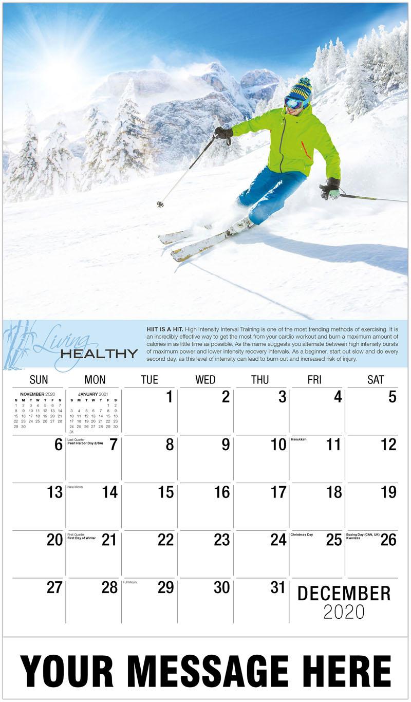 2020 Advertising Calendar - Man Skiing On Mountain - December_2020