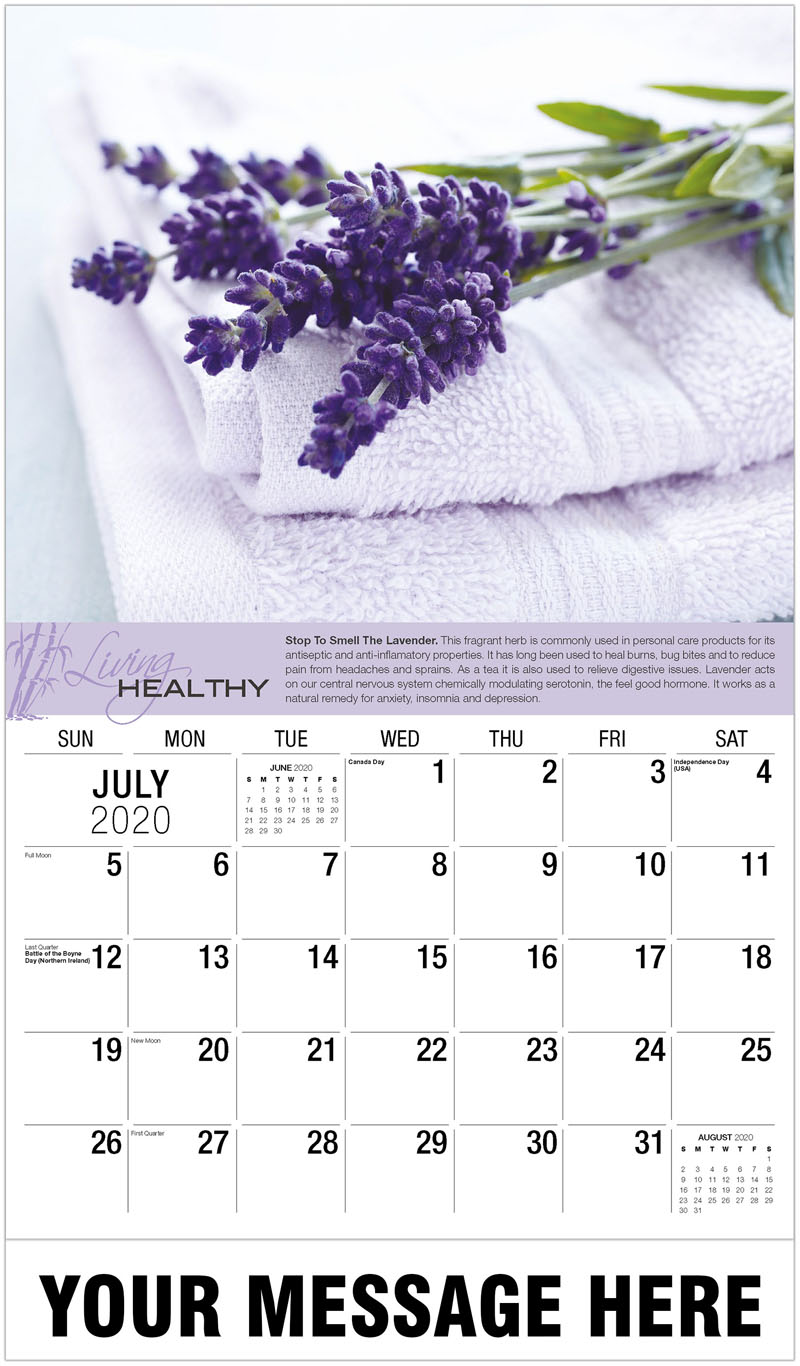 2020 Business Advertising Calendar - Lavender Flowers And Towels - July