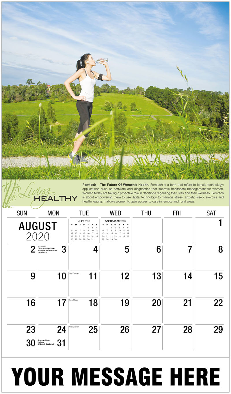 2020 Business Advertising Calendar - Woman Drinking Water After Exercise - August