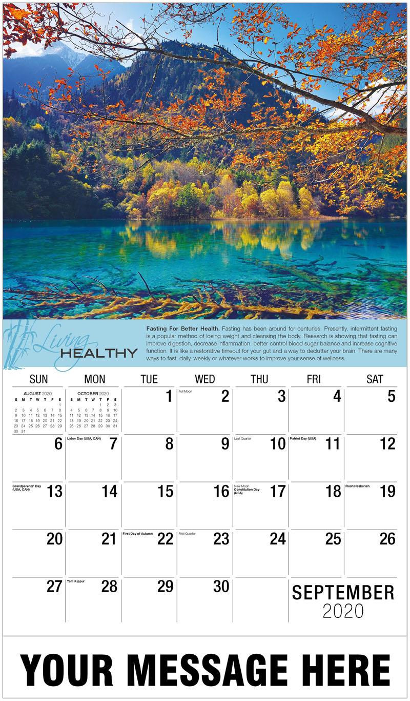 2020 Business Advertising Calendar - Five Flower Lake In Autumn - September