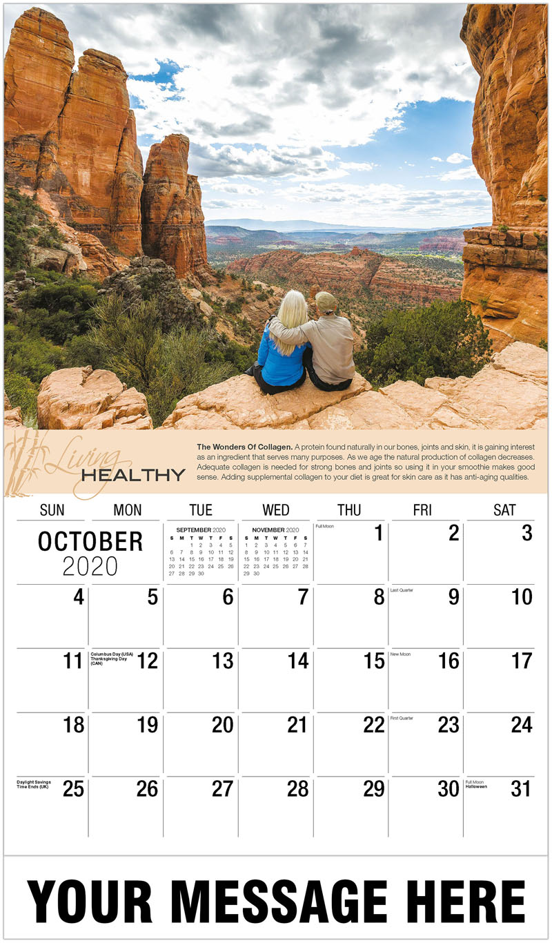 2020 Business Advertising Calendar - Couple Admiring Scenic View In Desert - October