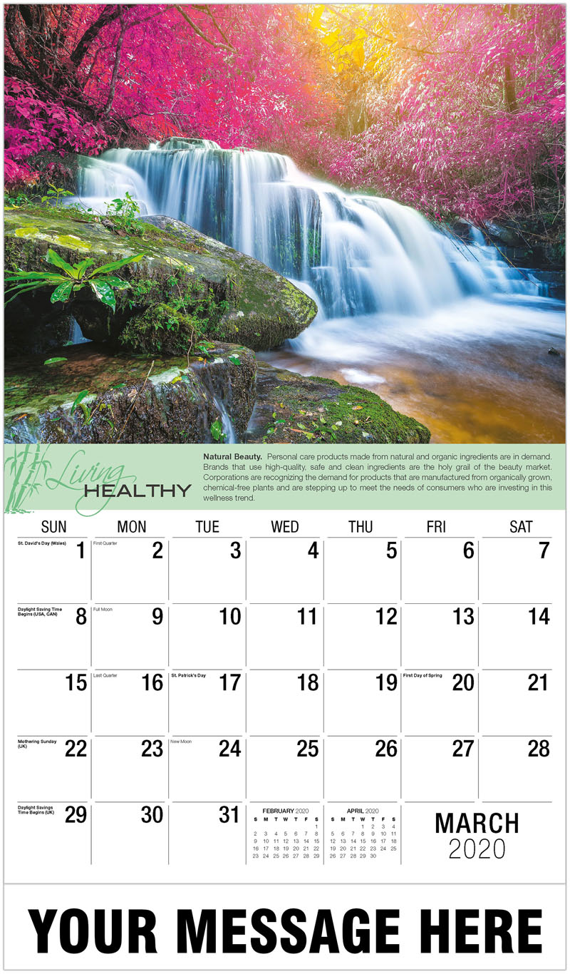 2020 Promo Calendar - Waterfall In Colorful Autumn Forest - March
