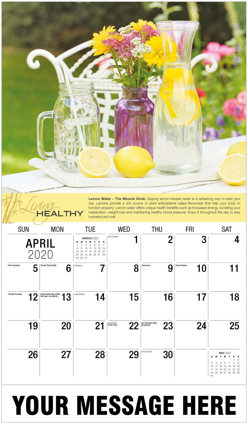 2020 Promo Calendar - Infused Lemon Water And Fresh Lemons - April