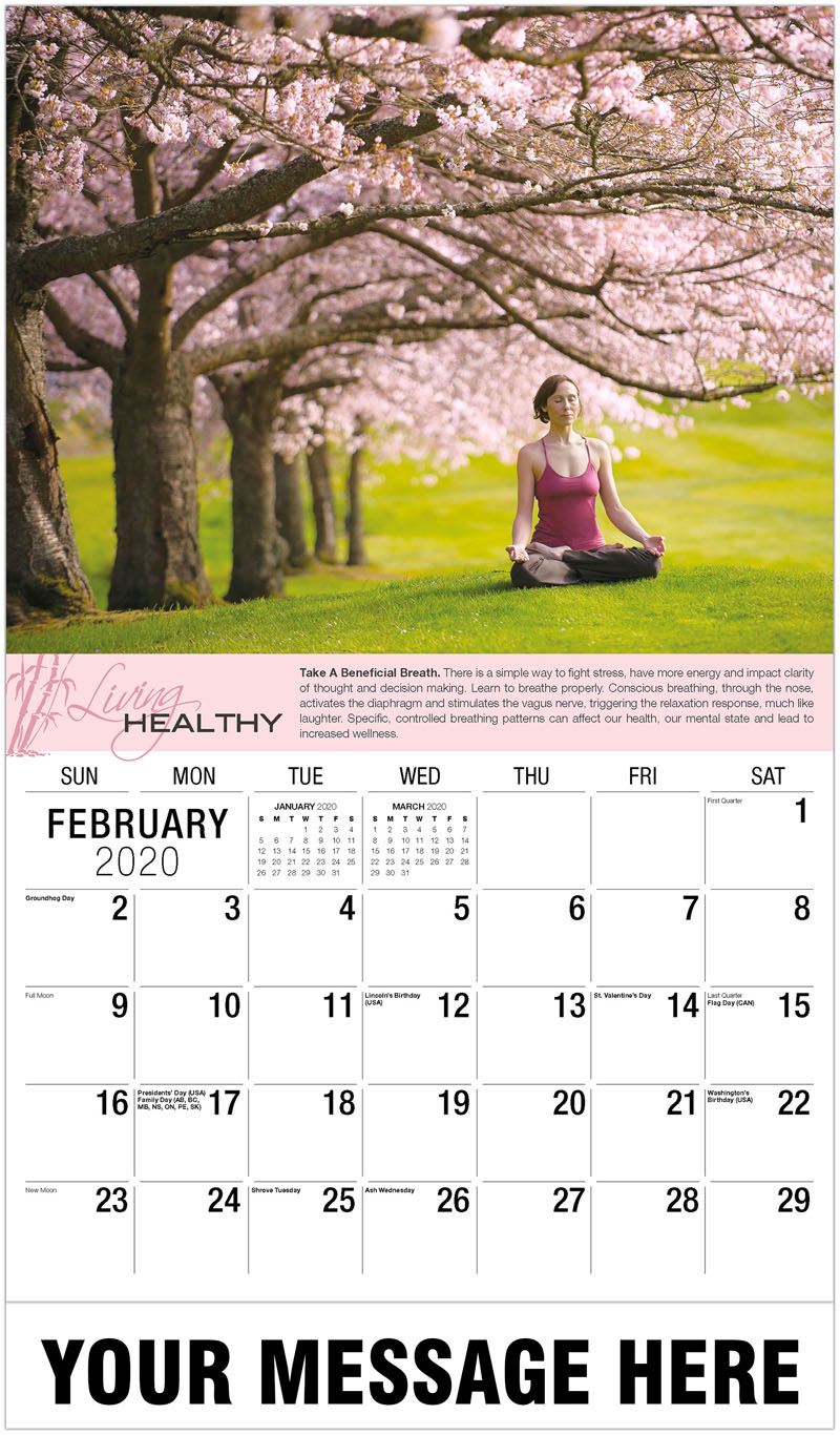 2020 Promotional Calendar - Woman In Lotus Position - February