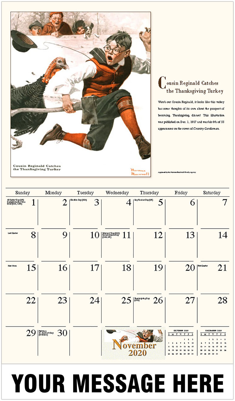 2020 Advertising Calendar - Cousin Reginald Catches The Thanksgiving Turkey - November