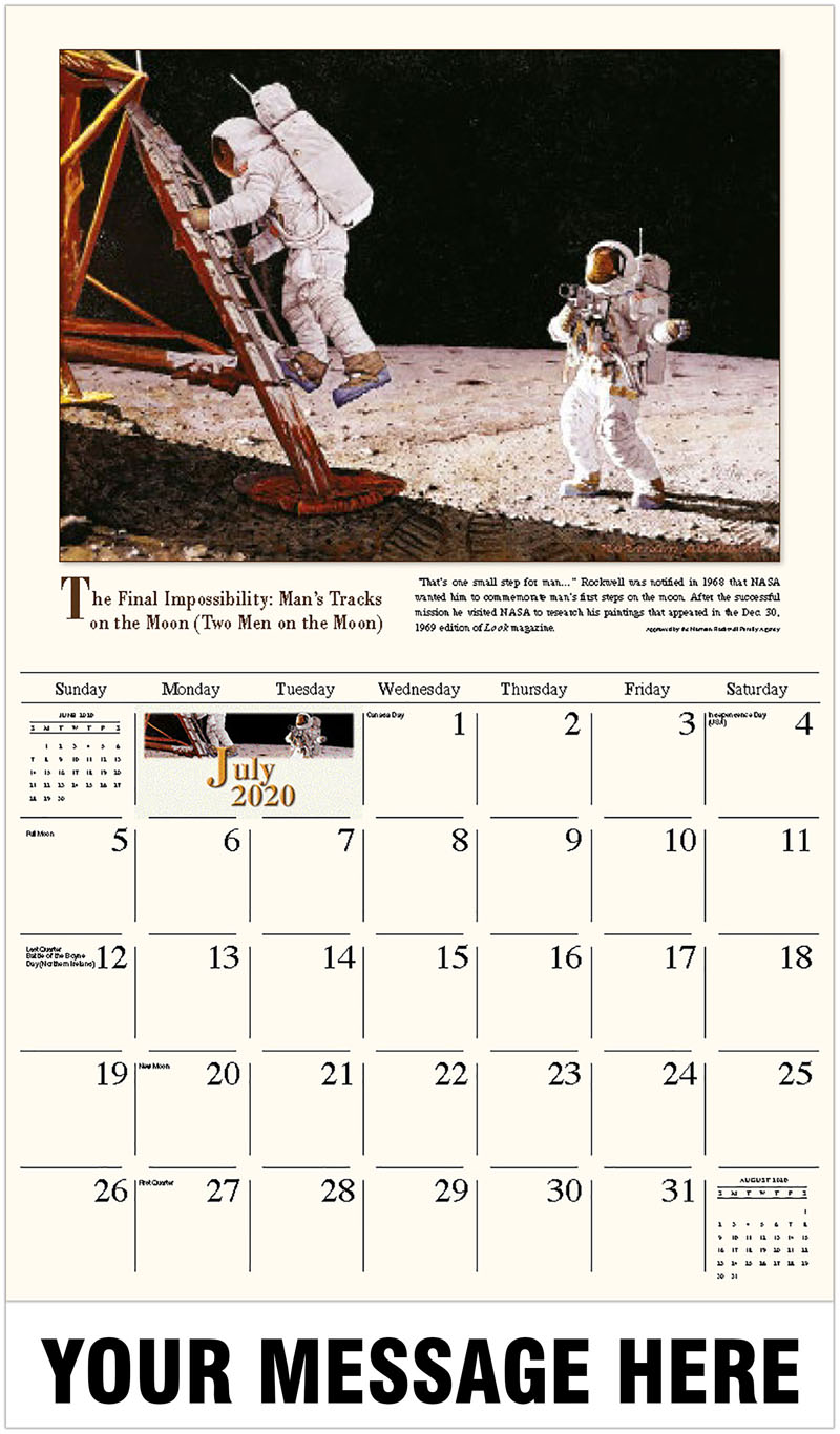 2020 Business Advertising Calendar - The Final Impossibility: Man'S Tracks On The Moon (Two Men On The Moon) - July