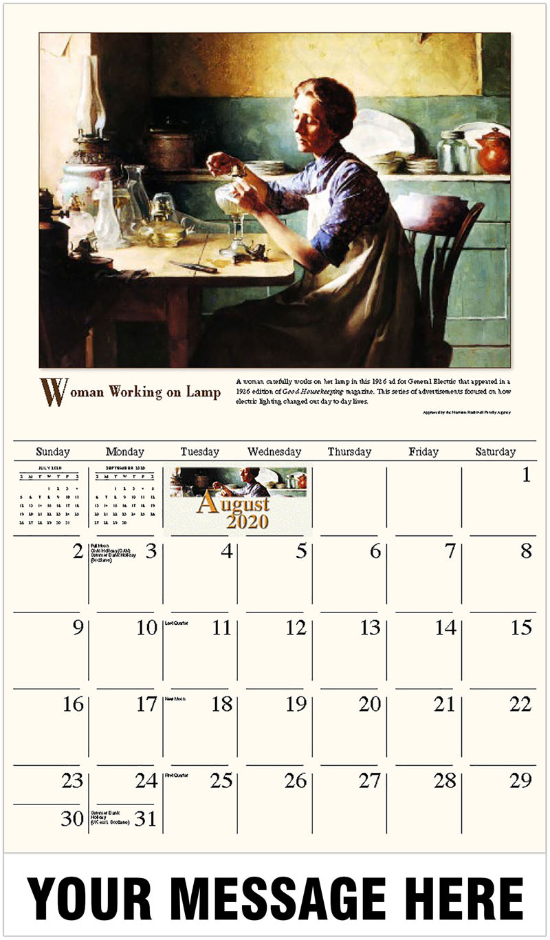2020 Business Advertising Calendar - Woman Working On Lamp - August