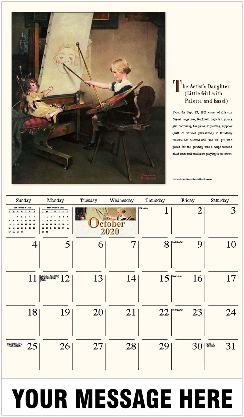2020 Business Advertising Calendar - The Artist'S Daughter (Little Girl With Palette And Easel) - October