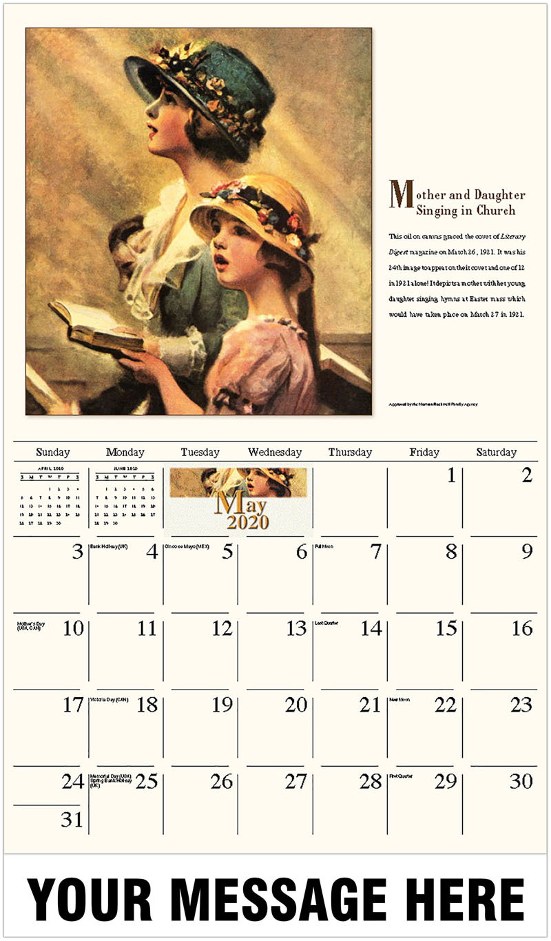 2020 Promo Calendar - Mother And Daughter Singing In Church - May