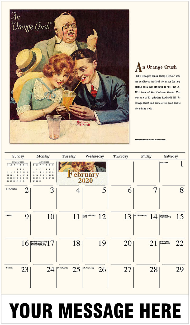 2020 Promotional Calendar - An Orange Crush - February