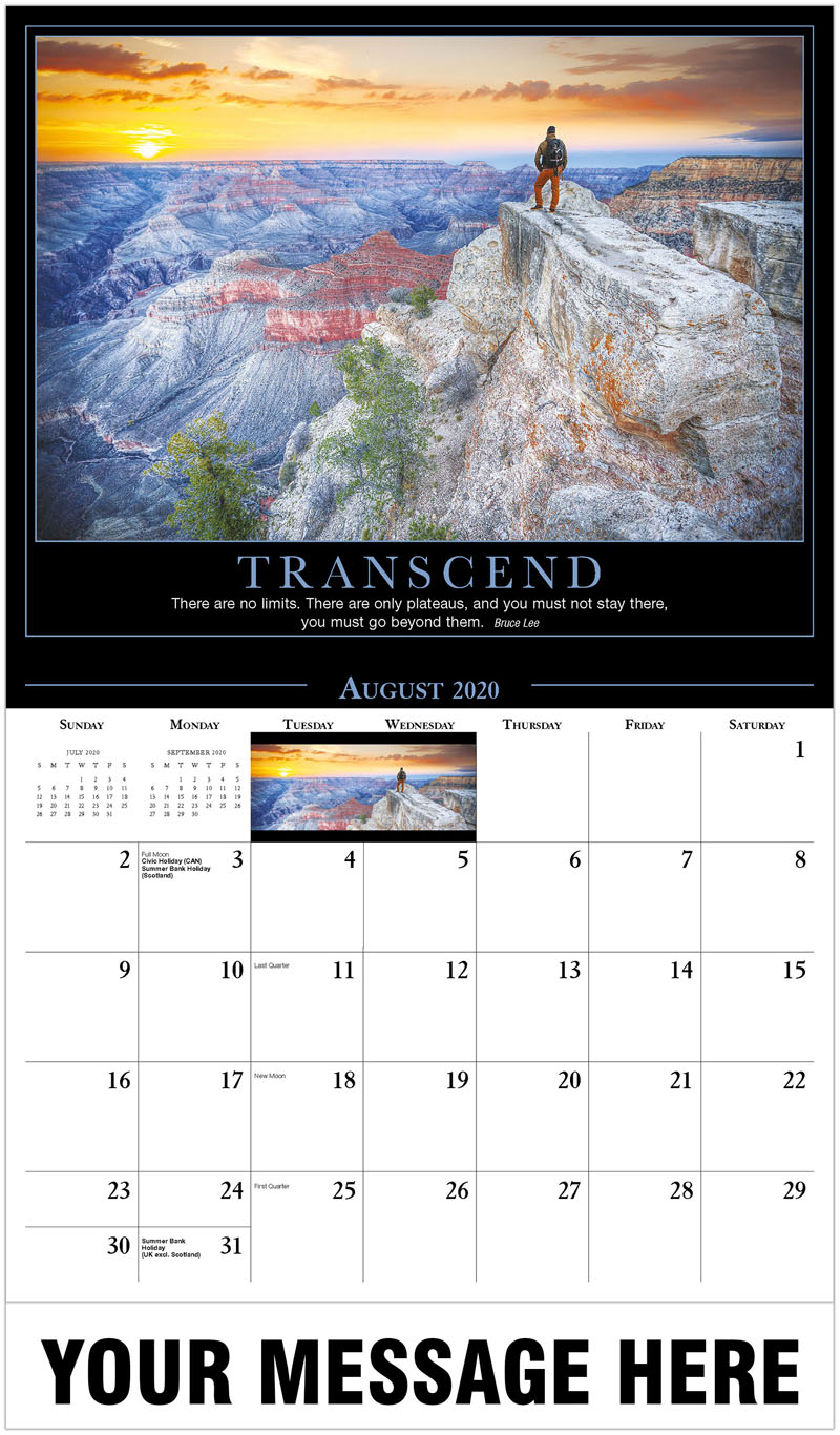 2020 Business Advertising Calendar - Scenic Canyon - August