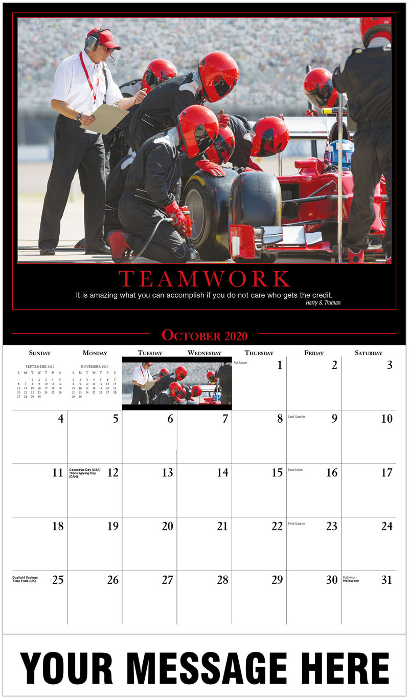 2020 Business Advertising Calendar - Pit Stop Practice - October
