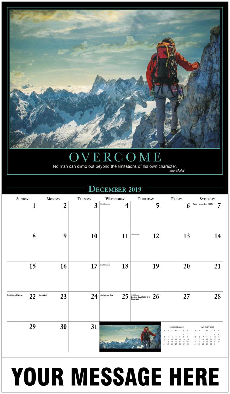 2020 Promotional Calendar - Climber Watching A Mountain Range - December_2019