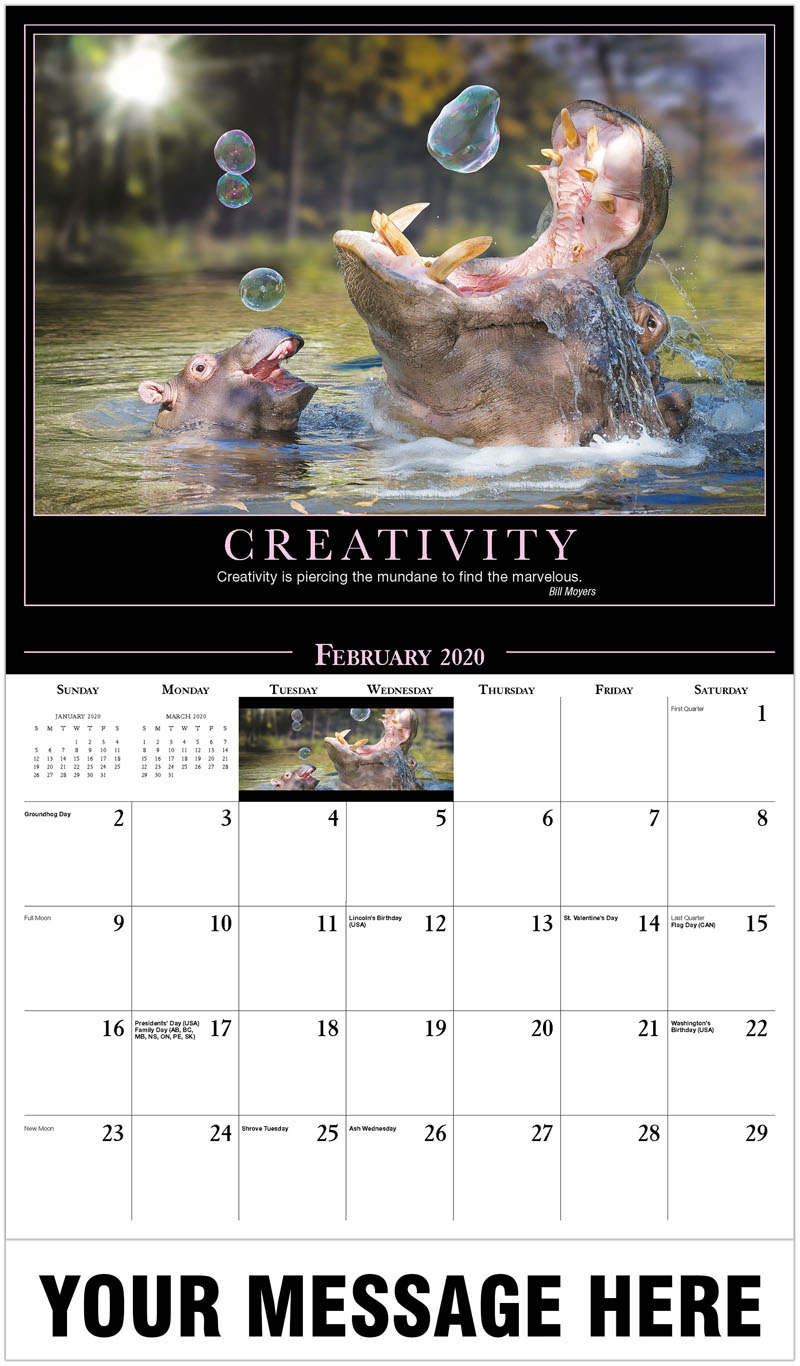2020 Promotional Calendar - Hippos Playing With Bubbles - February