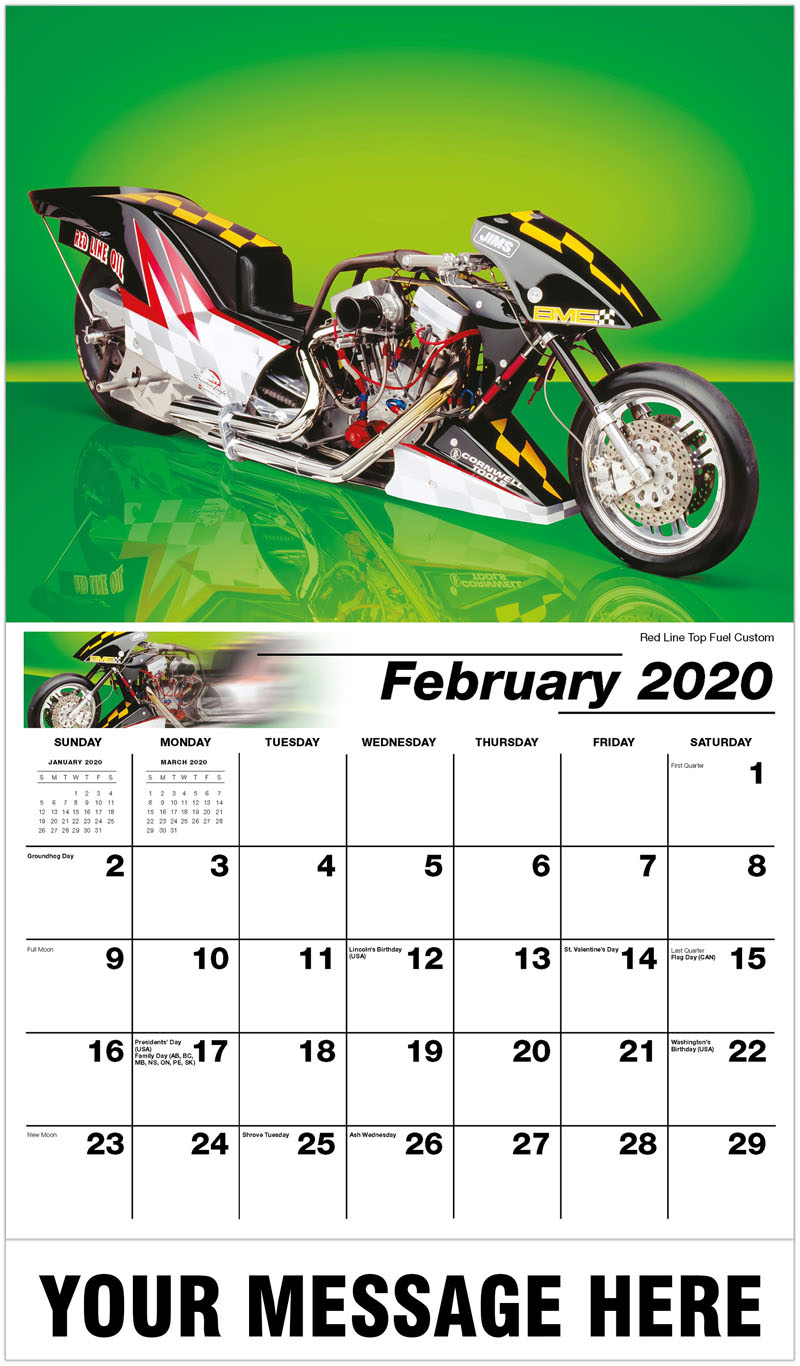 2020 Business Advertising Calendar - Red Line Top Fuel Custom - February