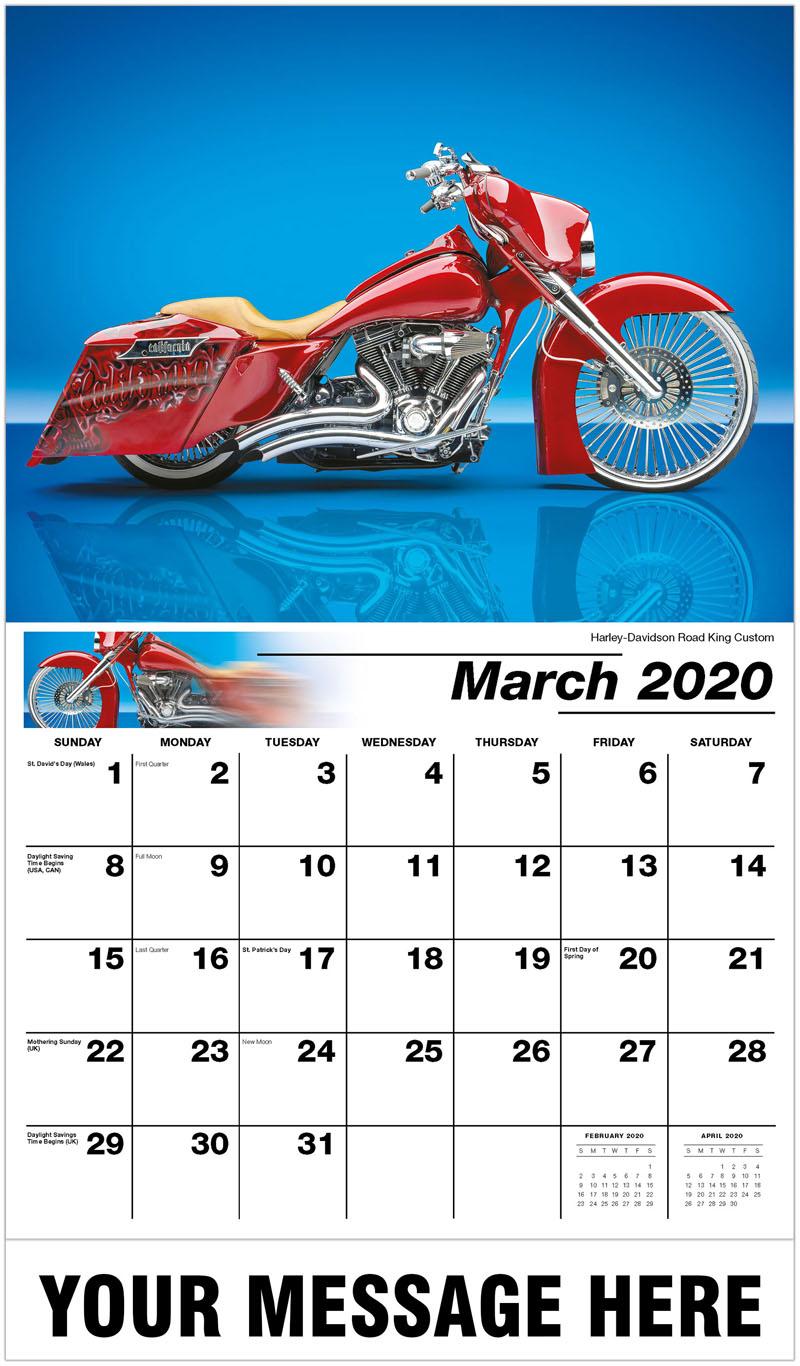 2020 Promotional Calendar - Harley-Davidson Road King Custom - March