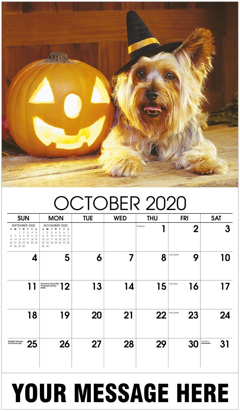 2020 Business Advertising Calendar - Yorkshire Terrier - October