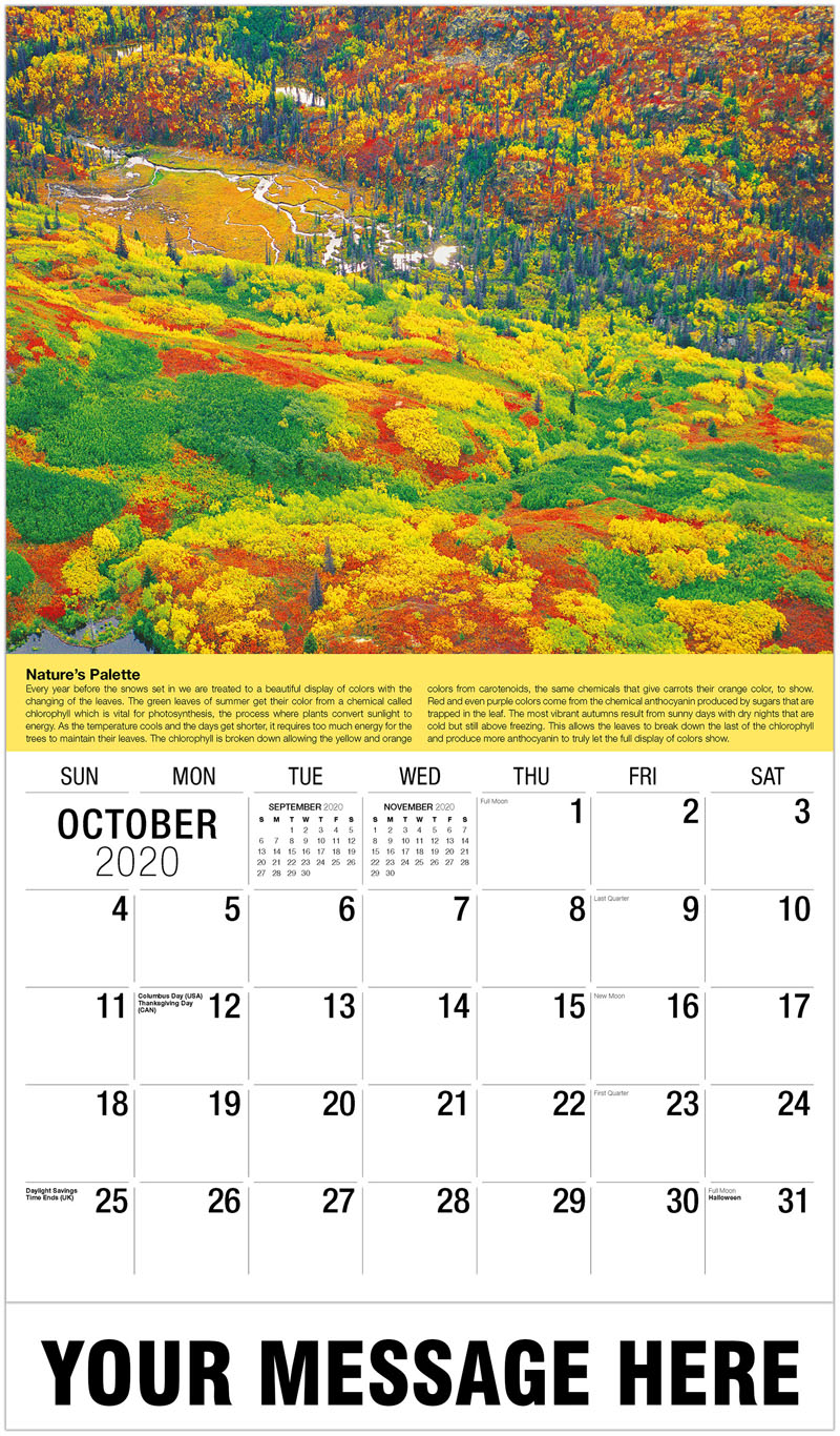 2020 Business Advertising Calendar - St. Elias National Park - October