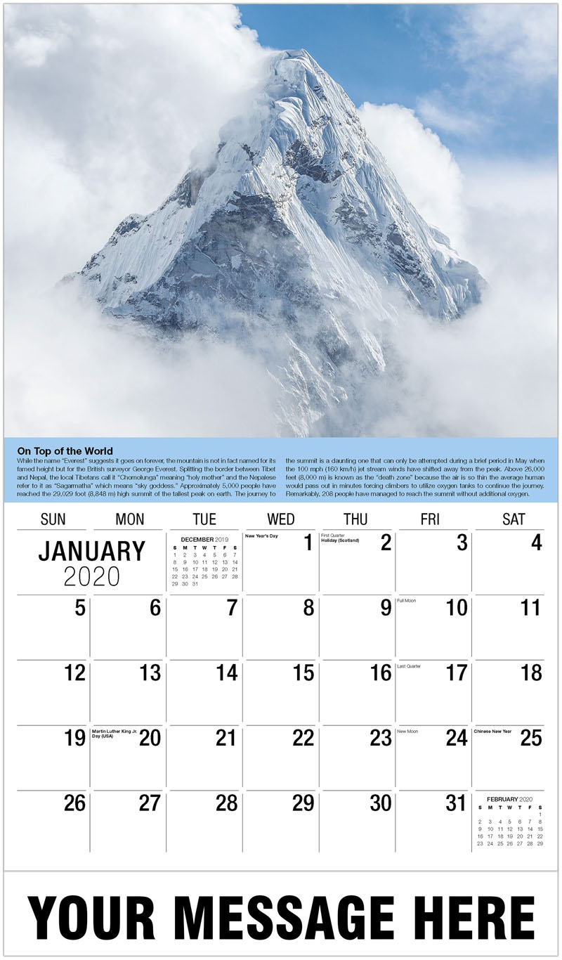2020 Promotional Calendar - Mt. Everest - January