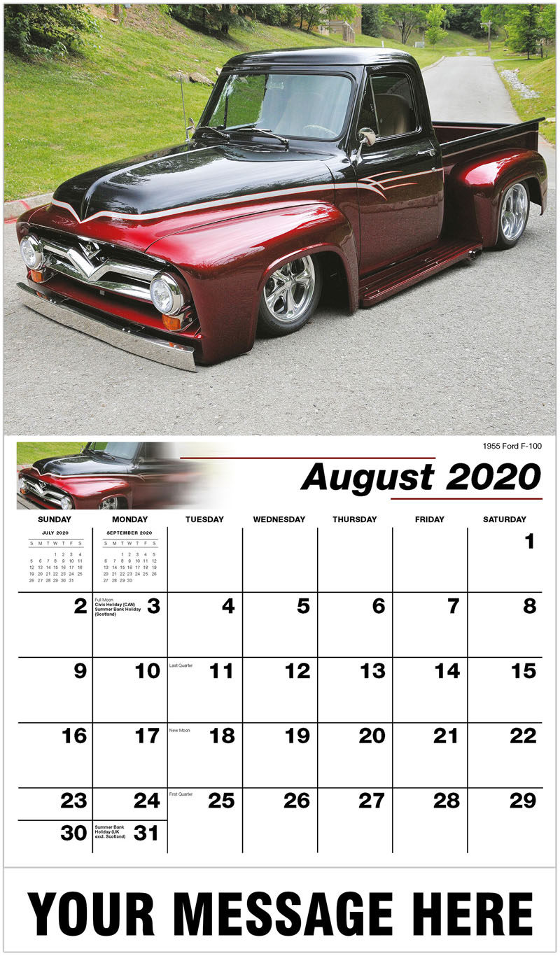 2020 Business Advertising Calendar - 1955 Ford F-100 - August