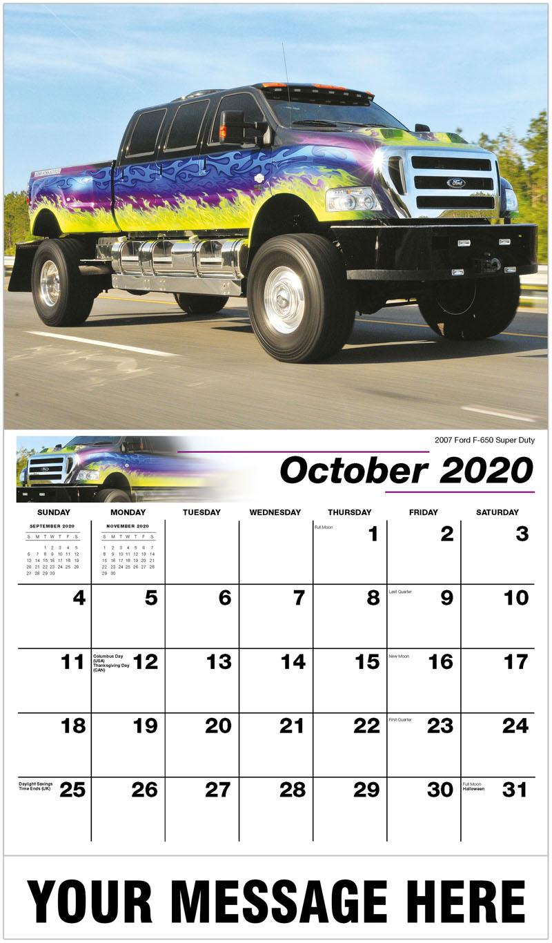 2020 Business Advertising Calendar - 2007 Ford F-650 Super Duty - October