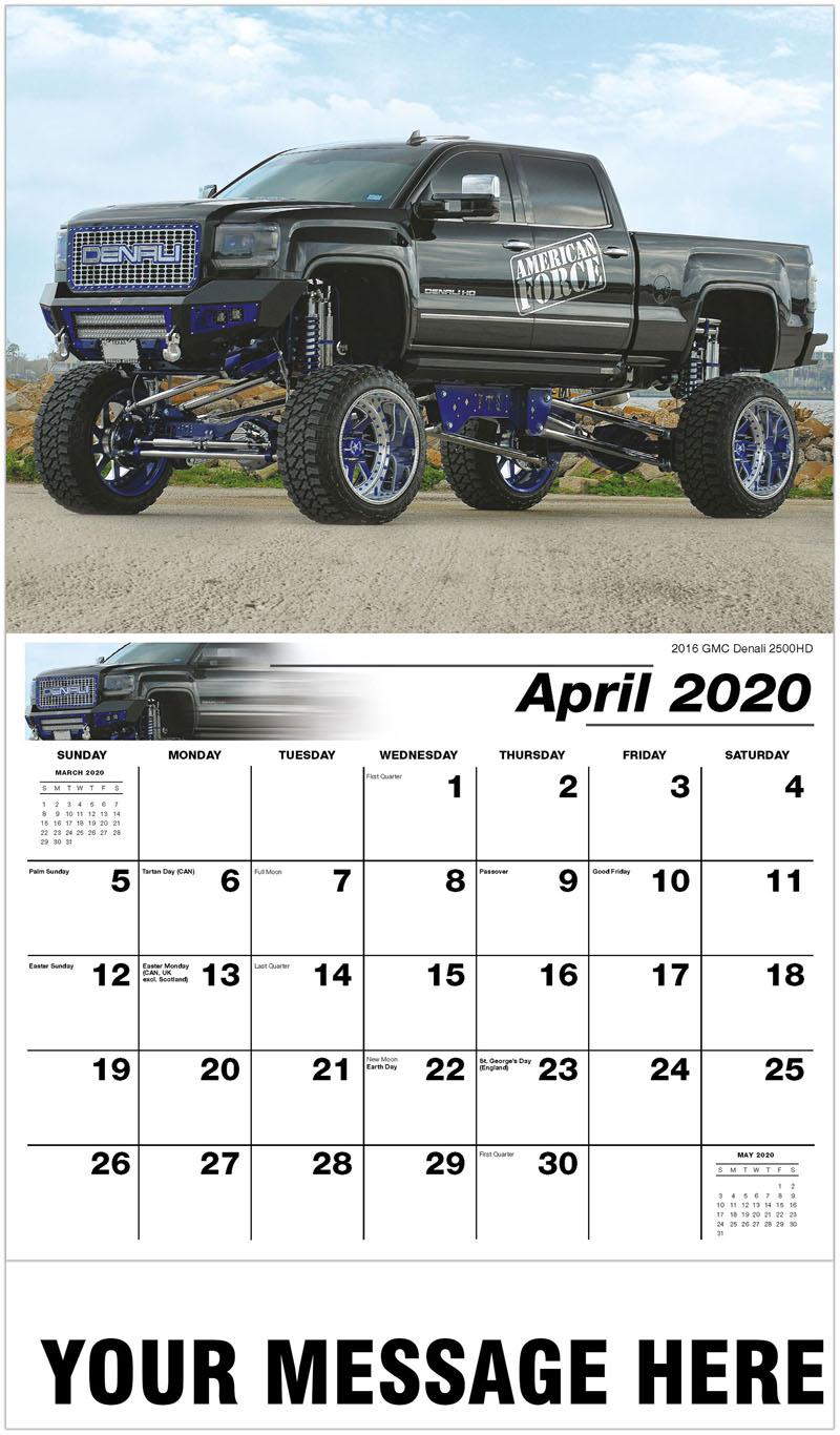 2020 Promo Calendar - 2016 Gmc Denali 2500HD - April