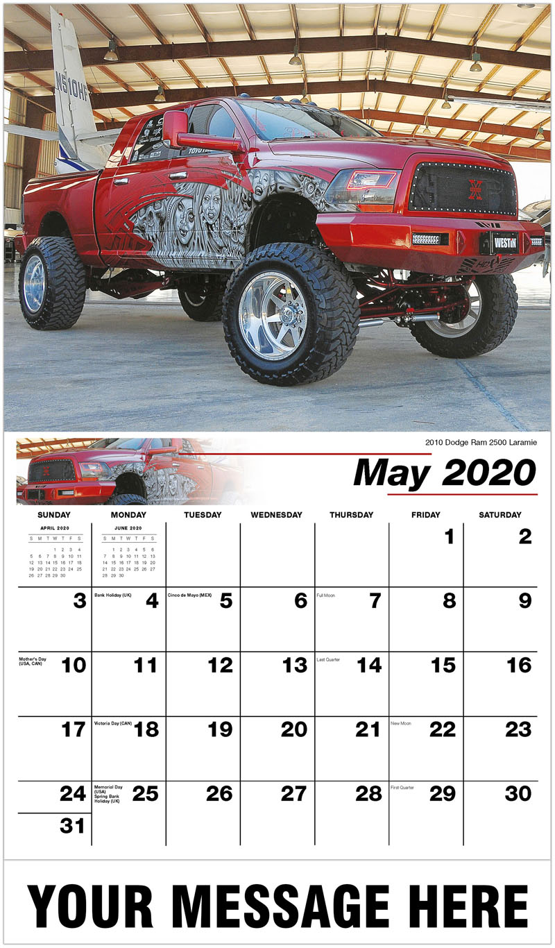 2020 Promo Calendar - 2010 Dodge Ram 2500 Laramie - May