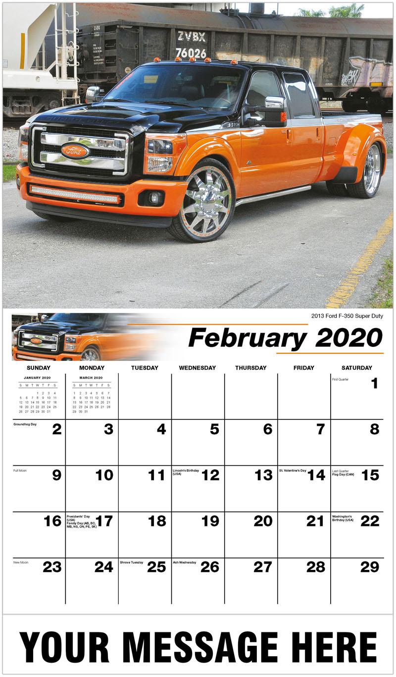 2020 Promotional Calendar - 2013 Ford F-350 Super Duty - February