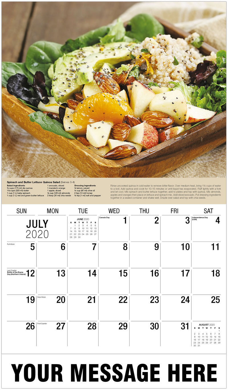 2020 Business Advertising Calendar - Fruit And Quinoa Salad - July
