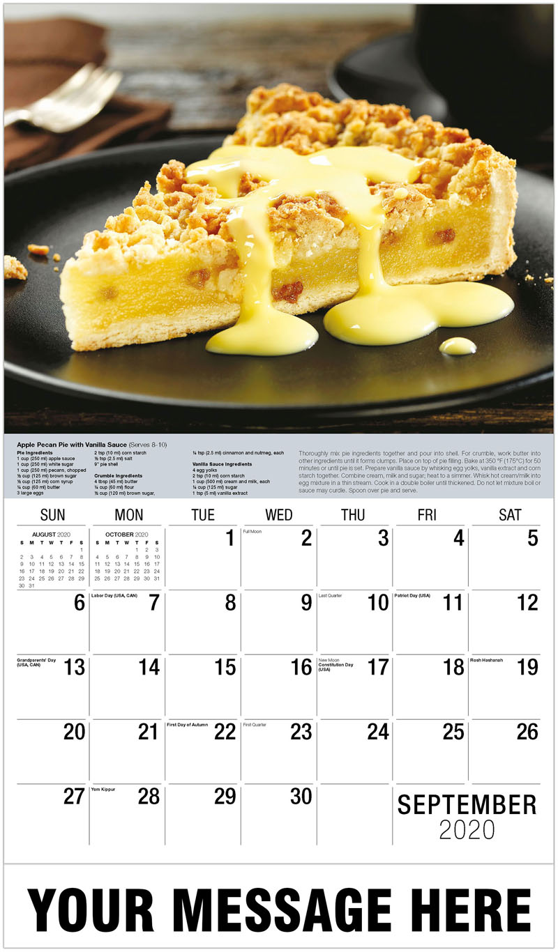 2020 Business Advertising Calendar - Apple Crumble Cake With Vanilla Sauce - September