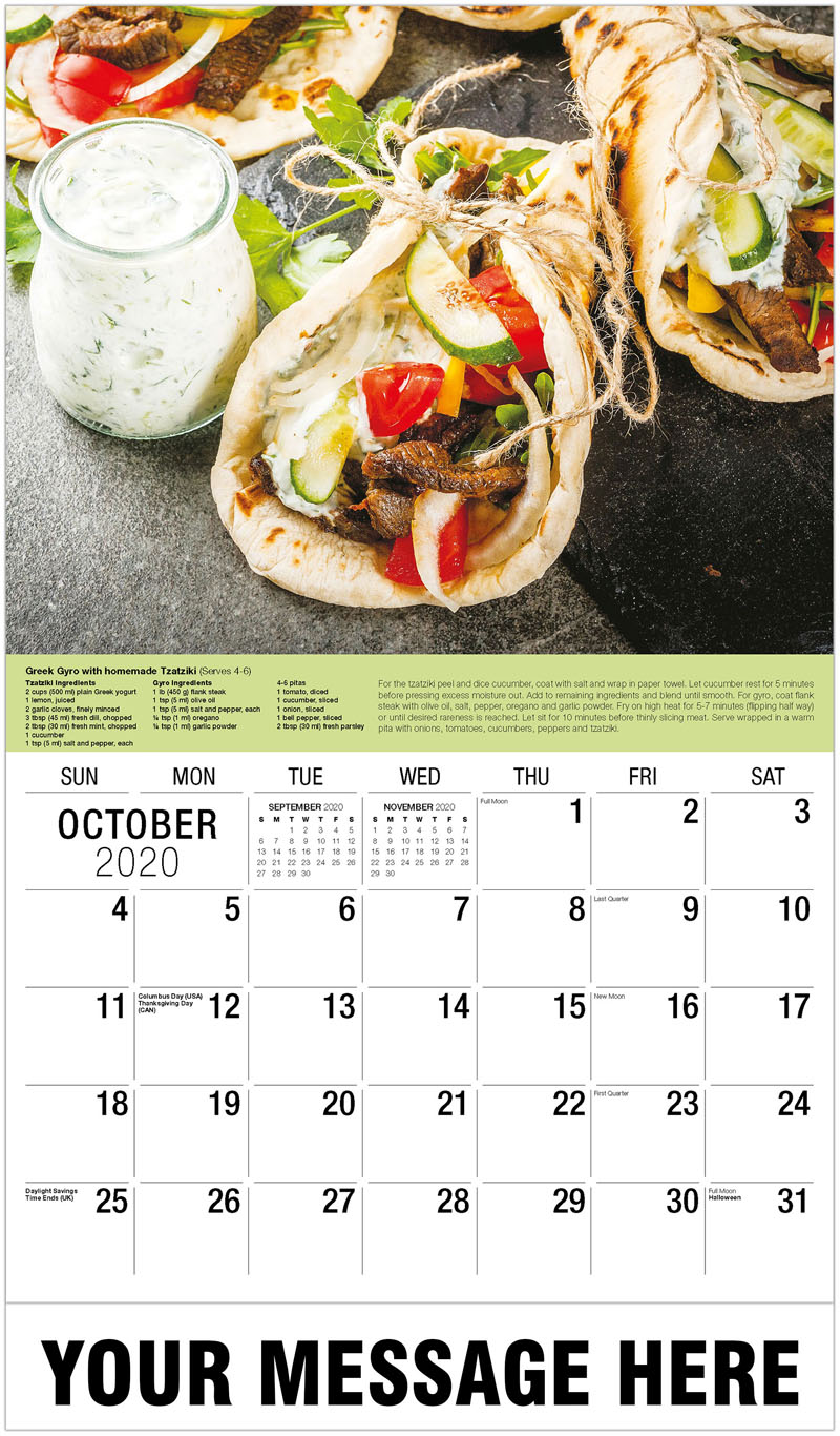 2020 Business Advertising Calendar - Greek Wrapped Sandwich Gyros - October