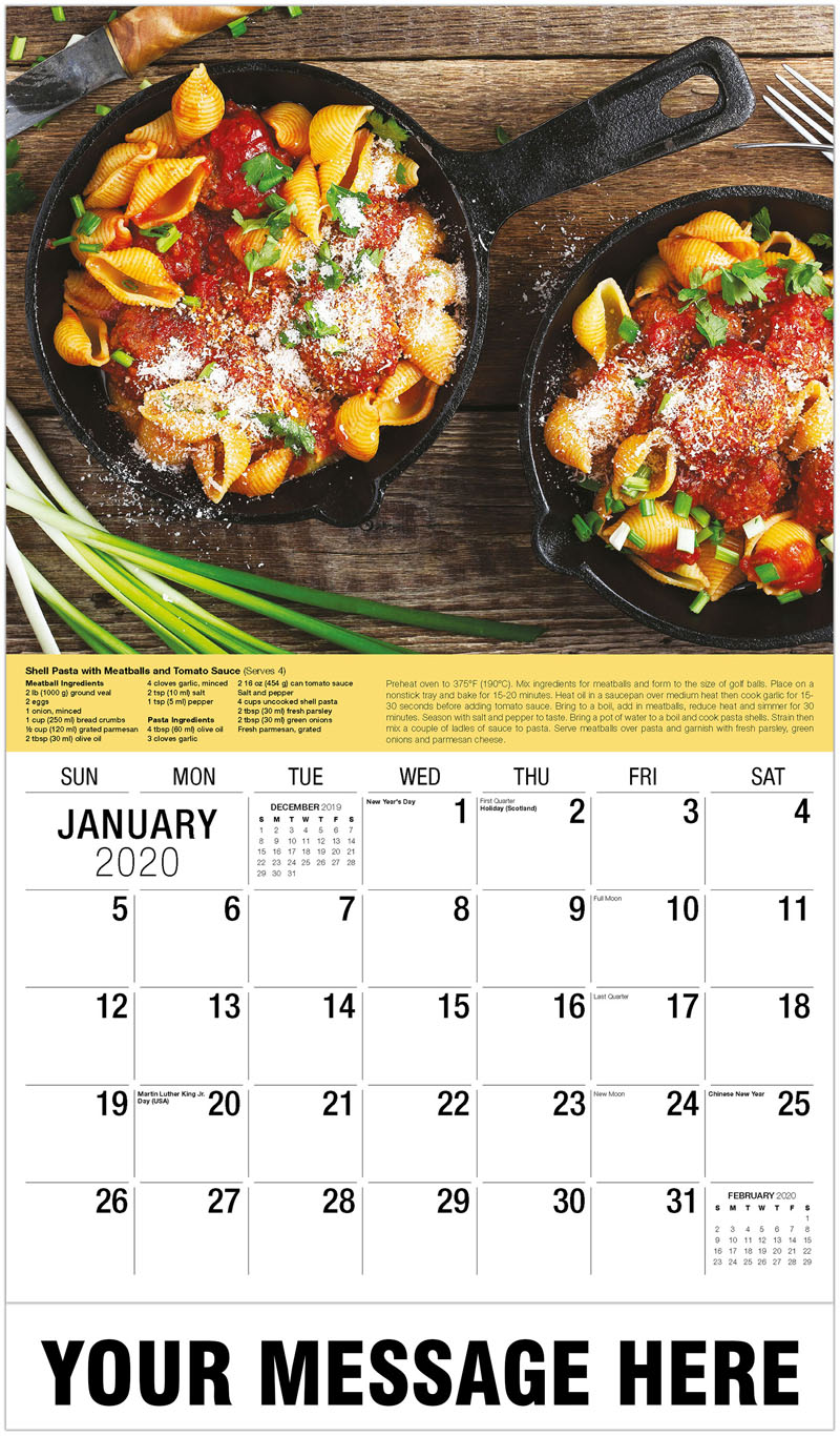 2020 Promotional Calendar - Pork And Beef Baked Meatballs With Pasta - January