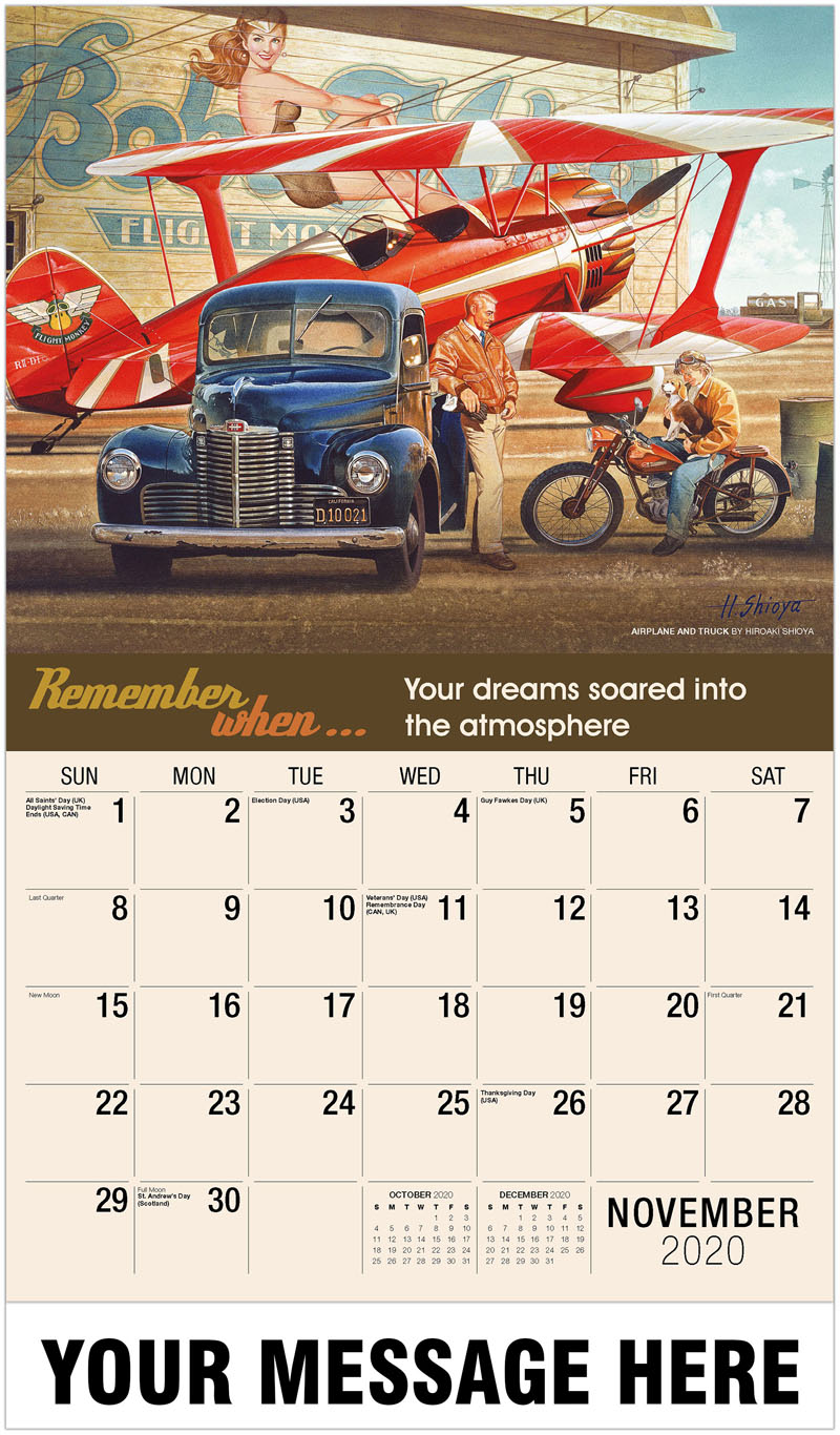 2020 Advertising Calendar - Airplane And Truck By Hiroaki Shioya - November