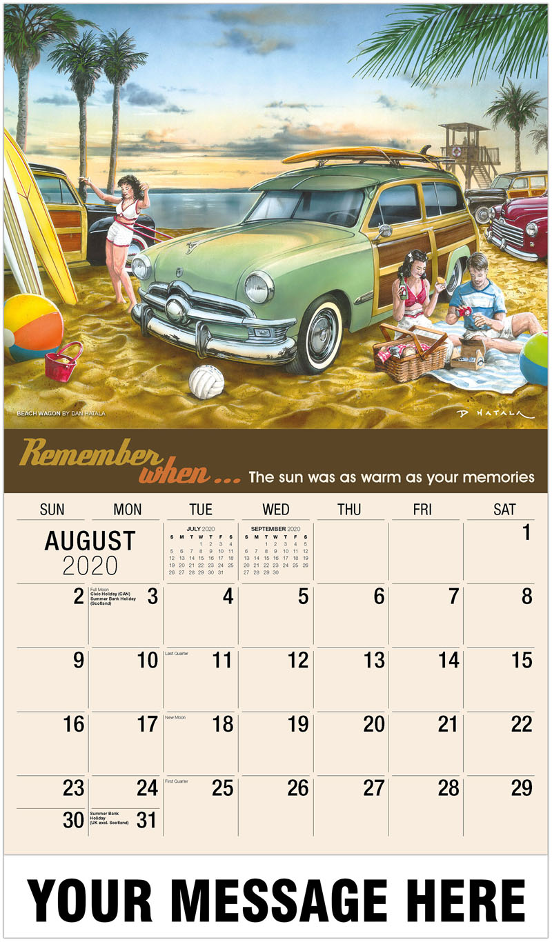 2020 Business Advertising Calendar - Beach Wagon Party By Dan Hatala - August