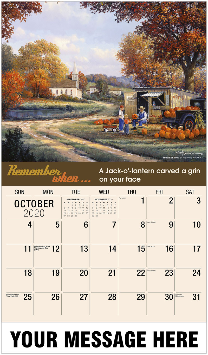 2020 Business Advertising Calendar - Harvest Time By George Kovach - October