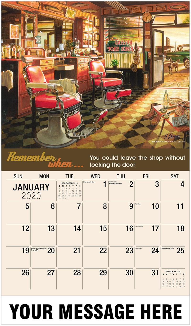 2020 Promo Calendar - Barber Shop By Hiroaki Shioya - January