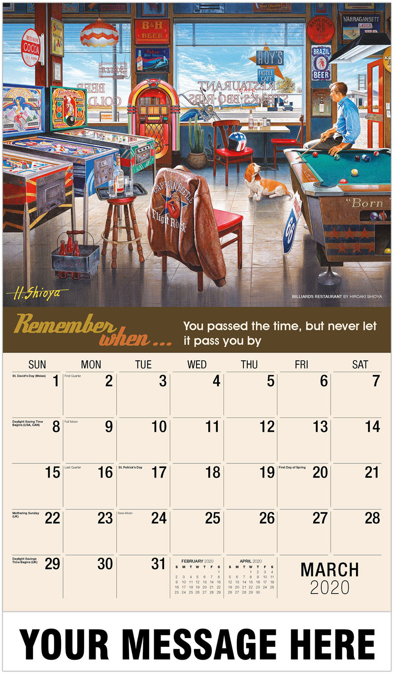 2020 Promotional Calendar - Billiards Restaurant By Hiroaki Shioya - March