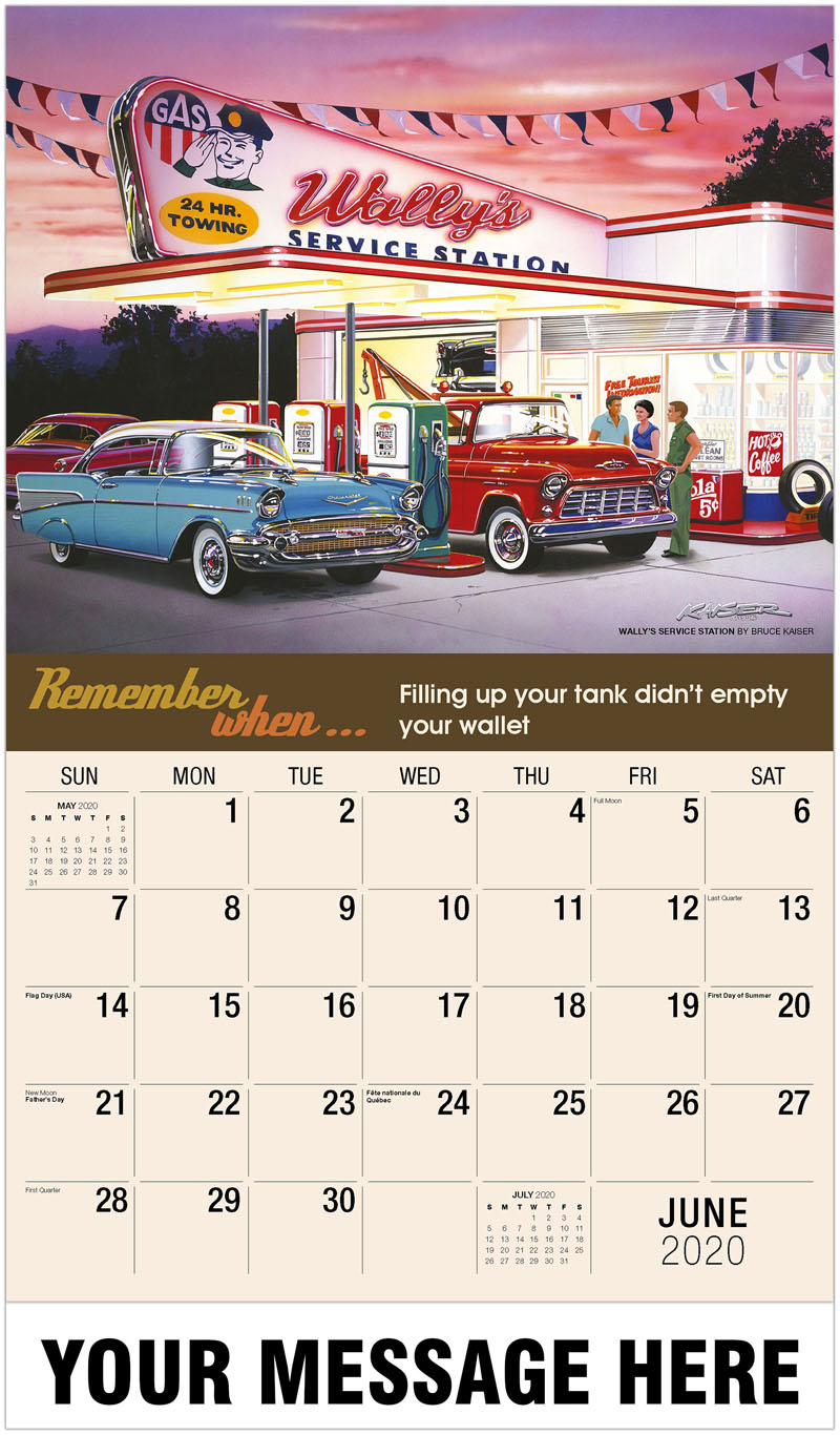 2020 Promotional Calendar - Wally'S Service Station By Bruce Kaiser - June