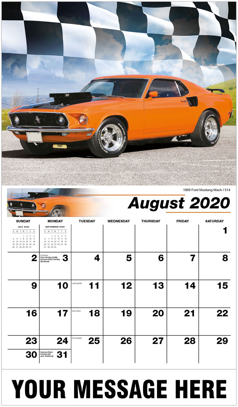 2020 Business Advertising Calendar - 1969 Ford Mustang Mach I 514 - August