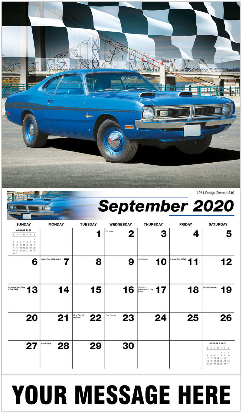 2020 Business Advertising Calendar - 1971 Dodge Demon 340 - September