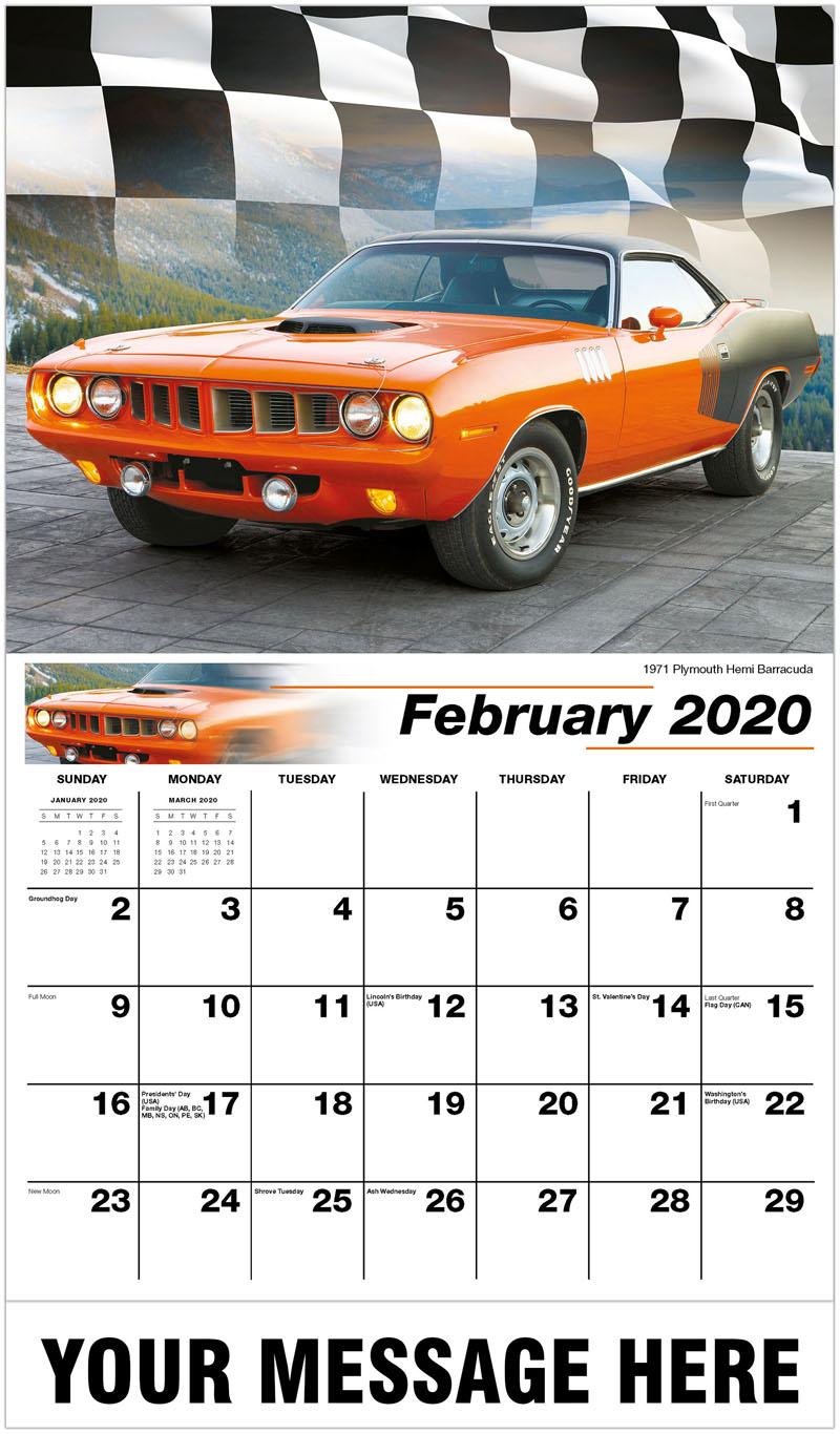 2020 Promotional Calendar - 1971 Plymouth Hemi Barracuda - February