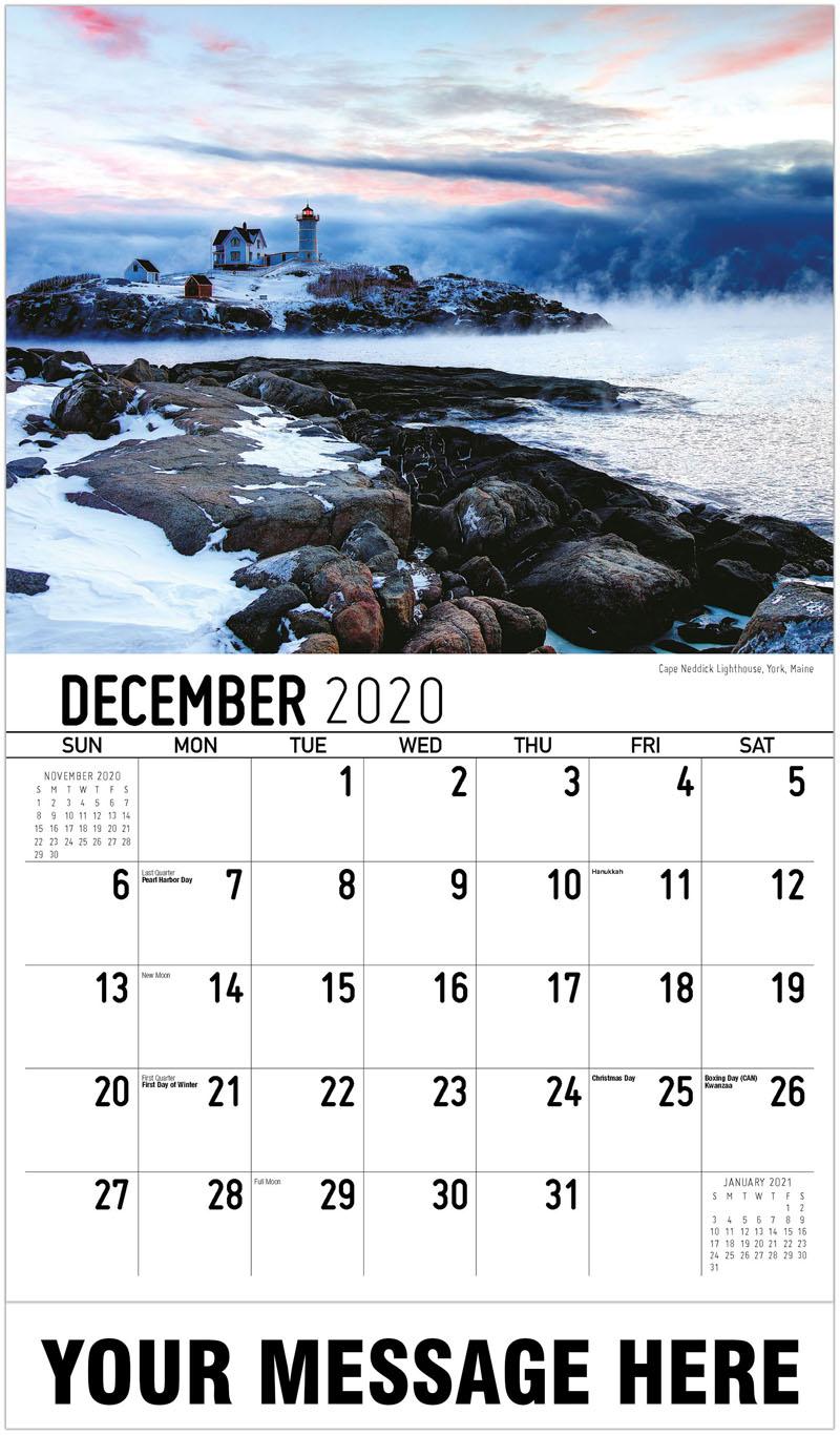 2020 Advertising Calendar - Faro De Cape Neddick, York, Maine Cape Neddick Lighthouse, York, Maine - December_2020