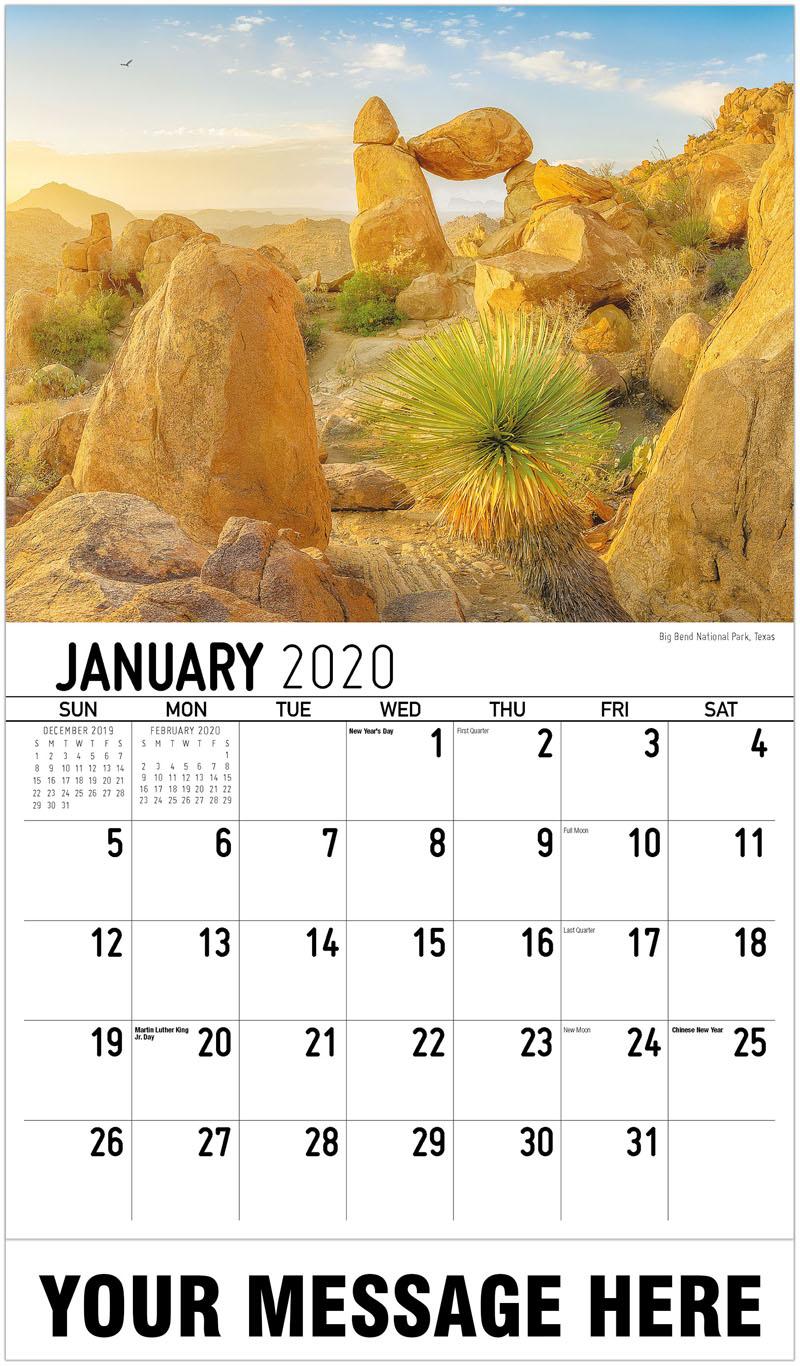 2020 Promo Calendar - Parque Nacional Big Bend, Texas Big Bend National Park, Texas - January