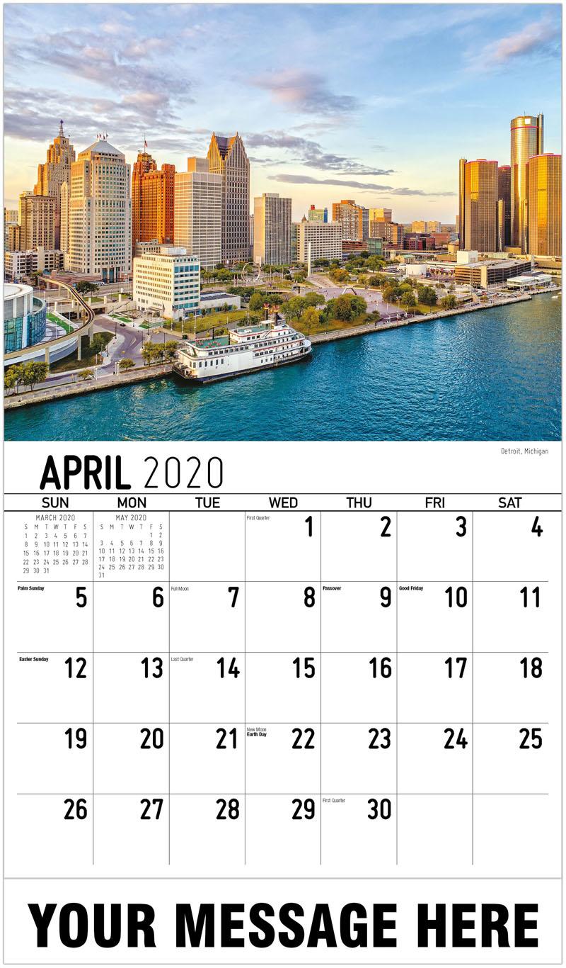 2020 Promotional Calendar - Detroit, Michigan - April