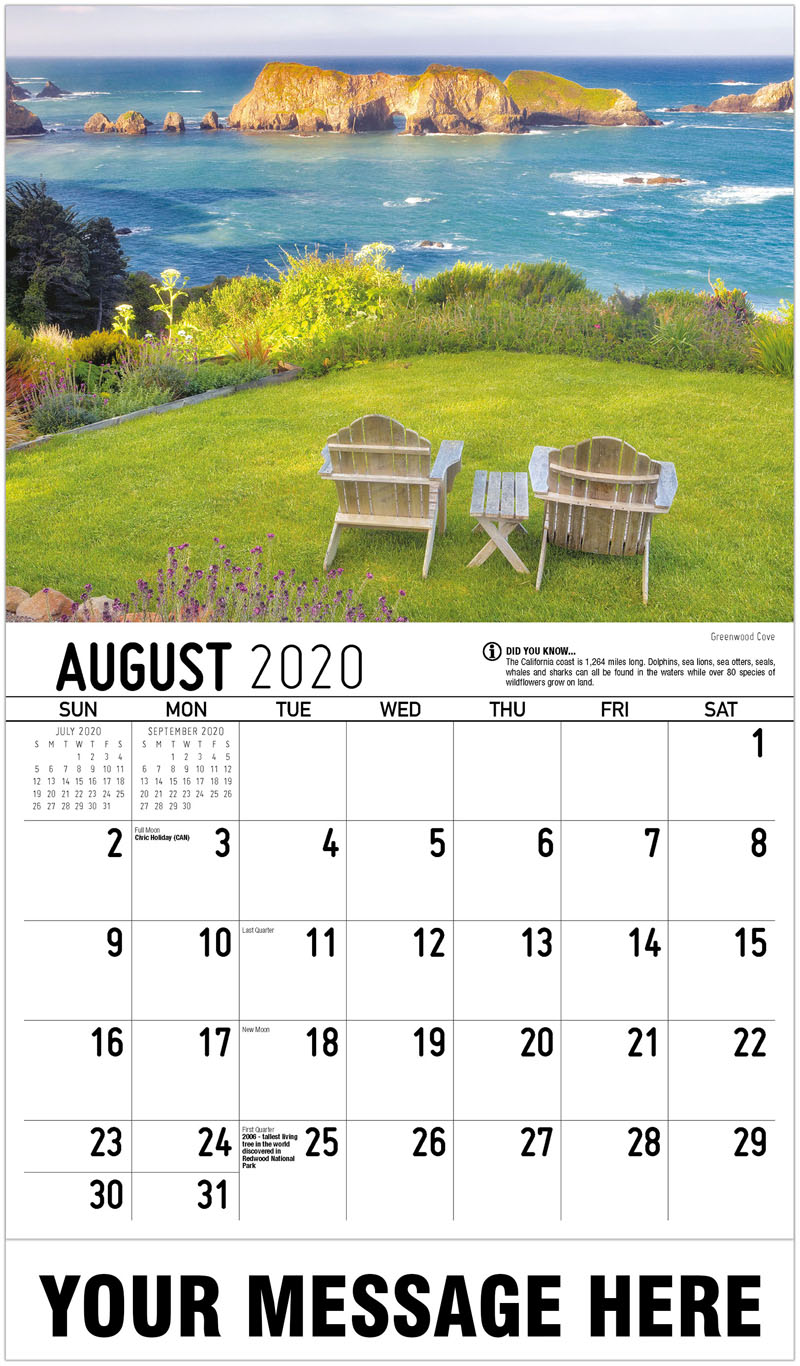 2020 Business Advertising Calendar - Greenwood Cove - August
