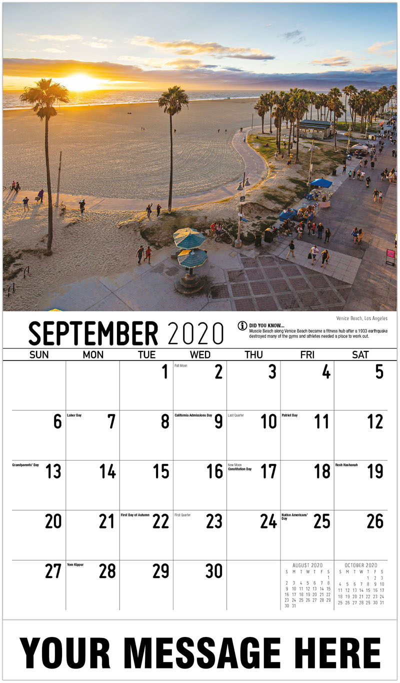 2020 Business Advertising Calendar - Venice Beach, Los Angeles - September